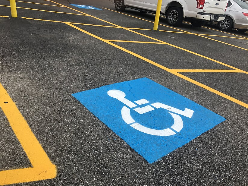 Handicap parking spots painted in Mobile, Alabama